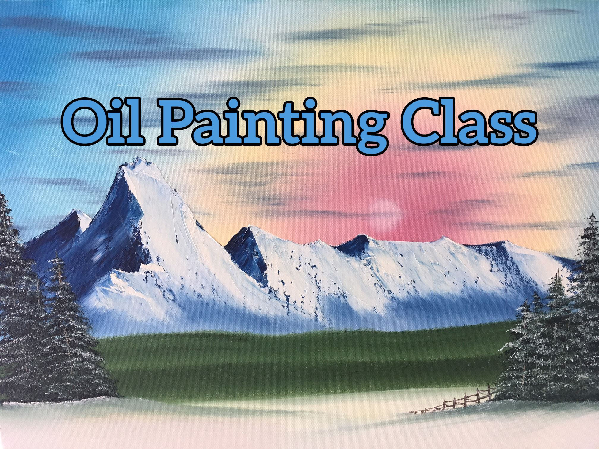 Photo of an oil painting depicting a mountain scene