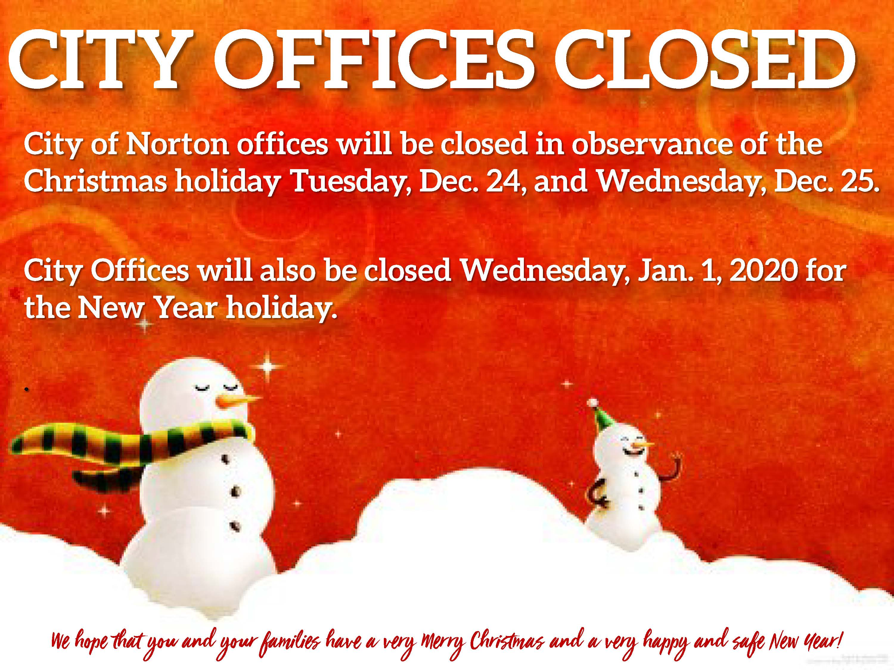 Photo of flyer announcing city hall holiday closures
