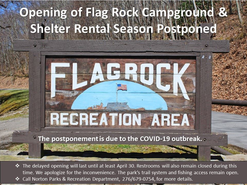 Flyer noting postponement of Flag Rock Campground opening