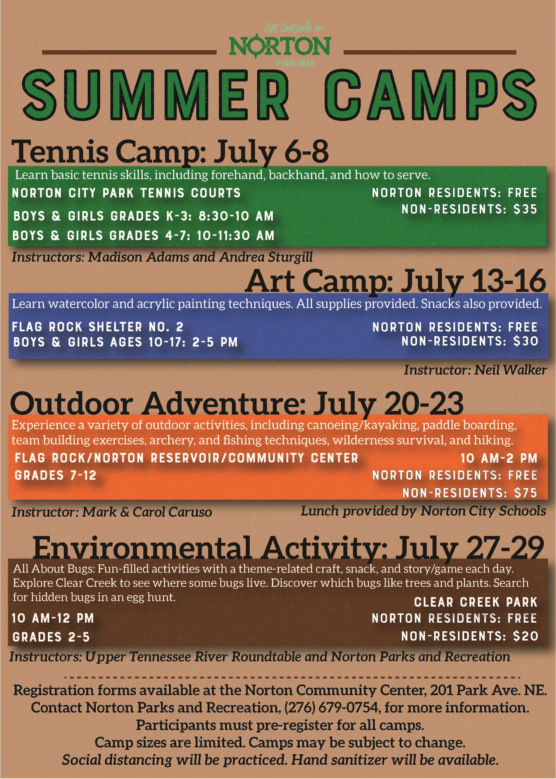 Summer Camps 2020 Flyer