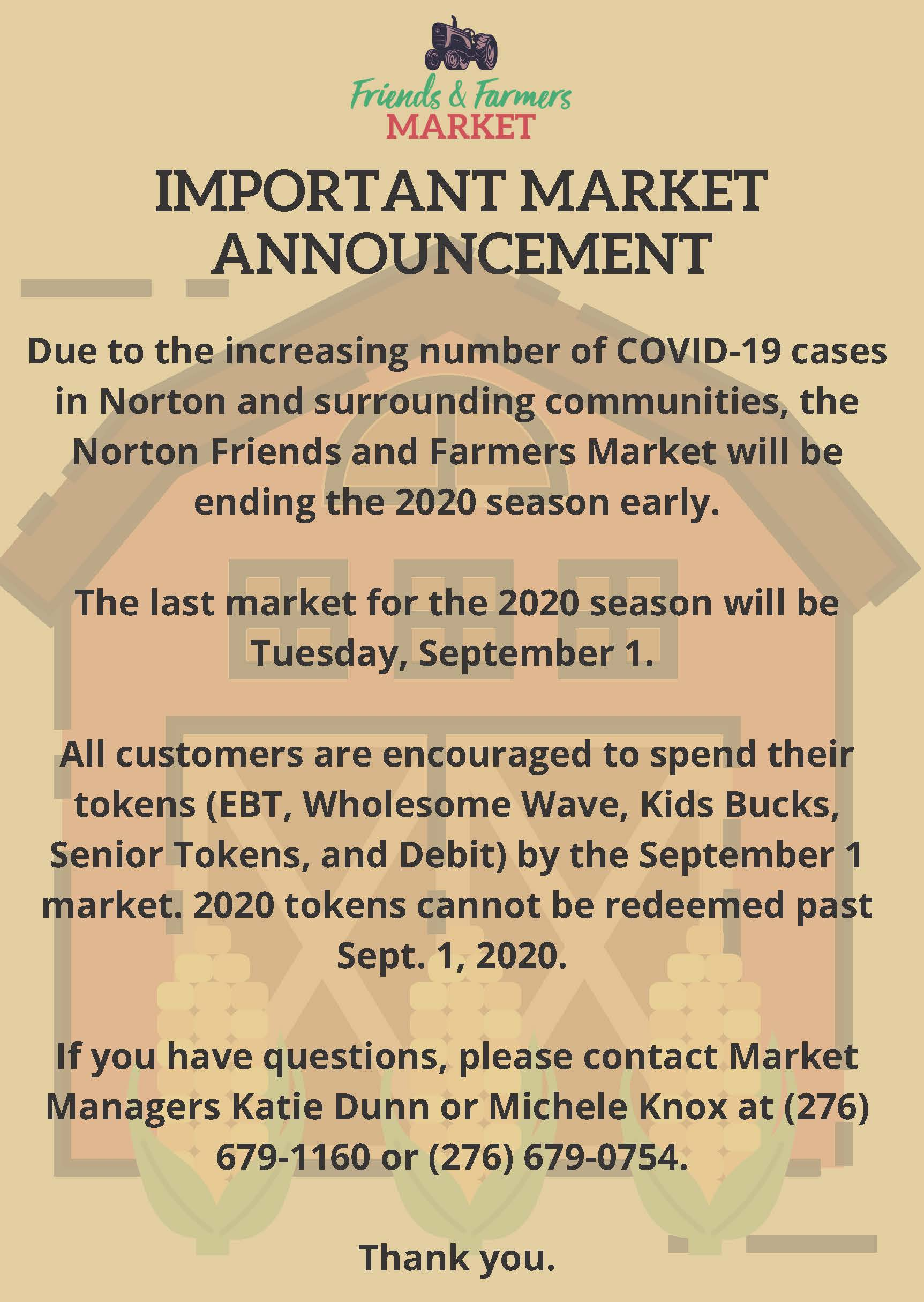End of Market Notice