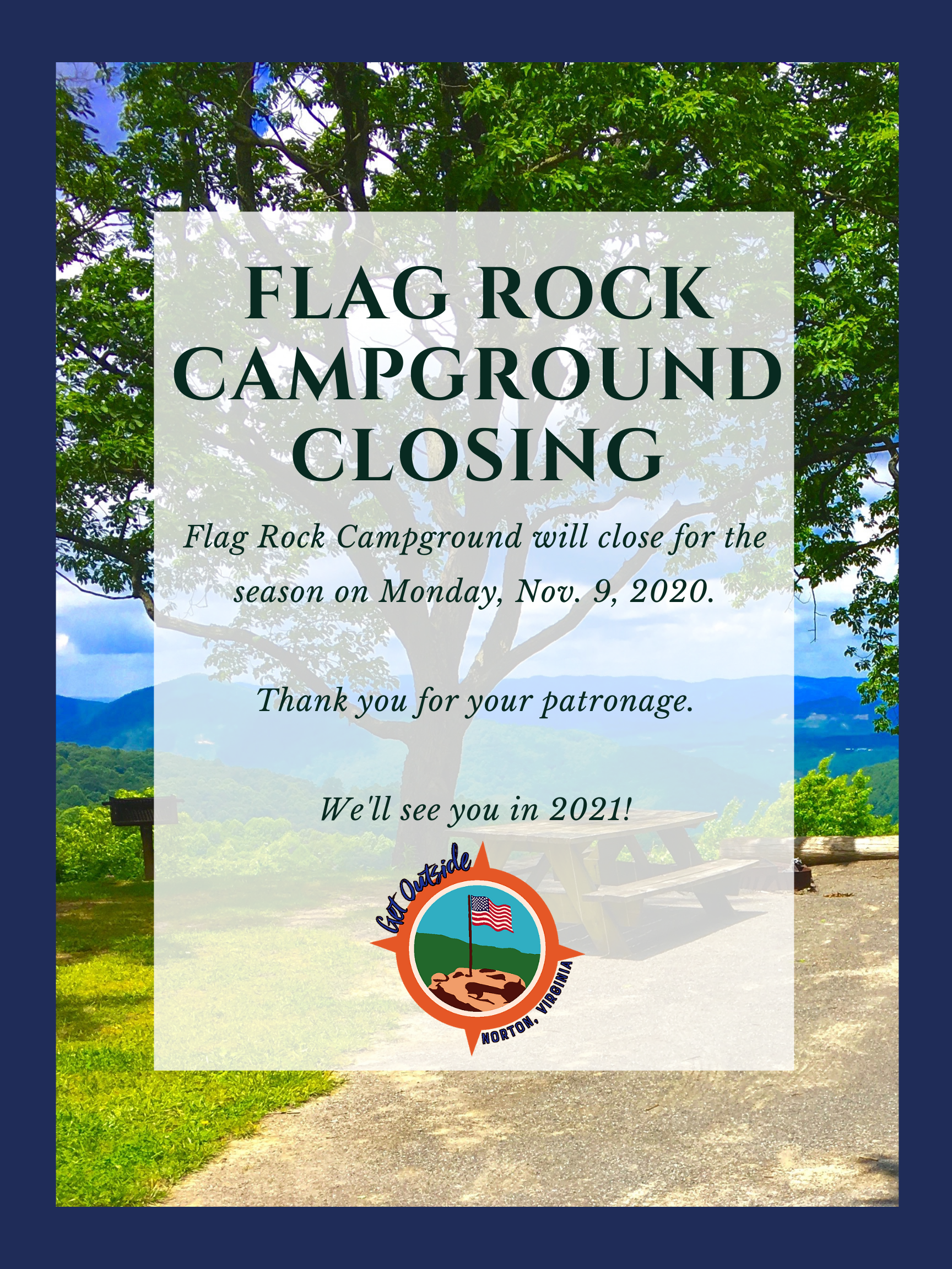 Flyer announcing seasonal closure of Flag Rock Campground