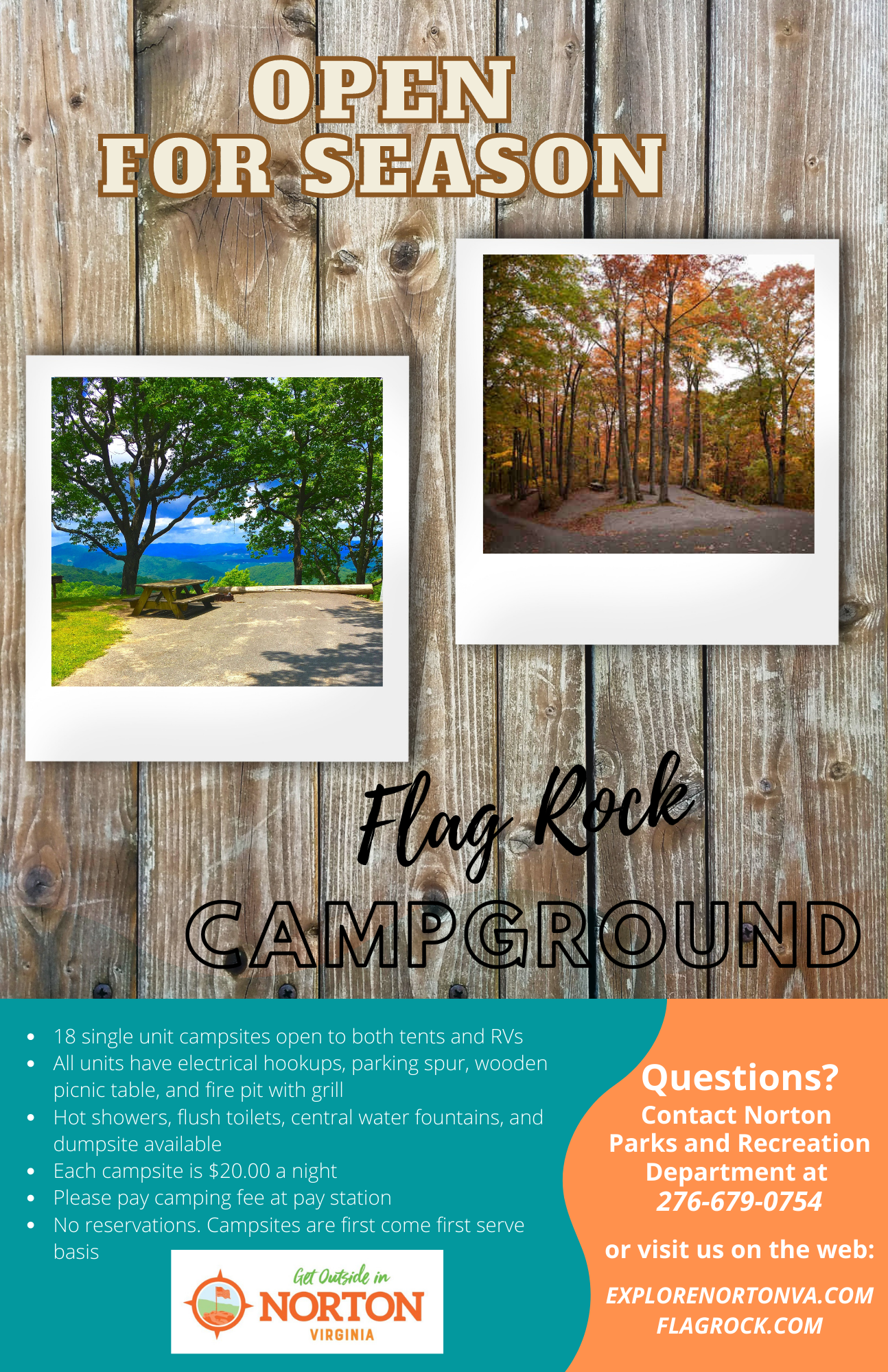 Photo of flyer announcing Flag Rock Campground is open